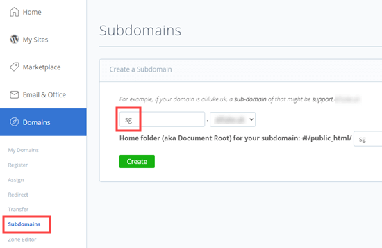Adding a subdomain in Bluehost