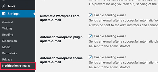 Disable Automatic Update Email Notification