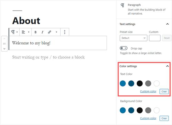 Memilih warna teks untuk seluruh blok di WordPress