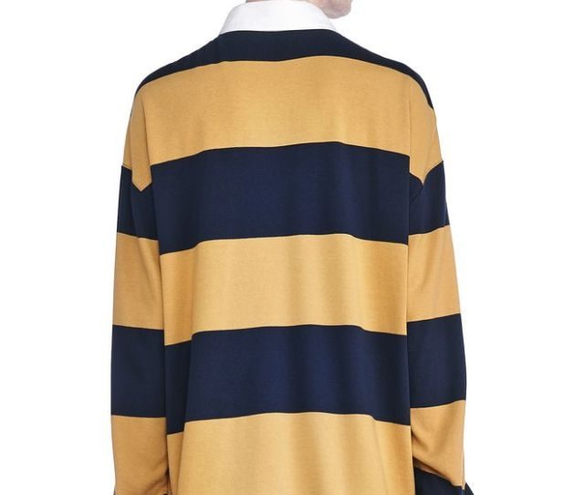T By Alexander Wang Striped Long Sleeve Collared Rugby Shirt Top Adult _n_d
