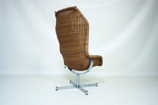 fauteuil pivotant 736 en rotin par dirk van sliedregt pour gebroeders jonkers pays bas 1960s