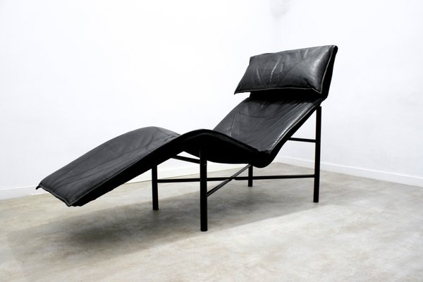 Black Leather Skye Chaise Longue By Tord Björklund For Ikea 1980s