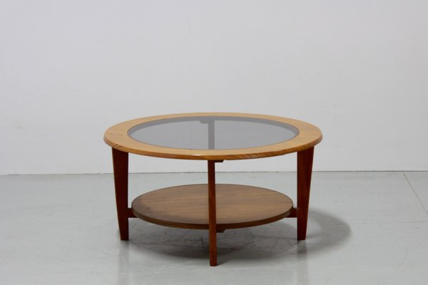 vintage danish round coffee table with glass 1960s