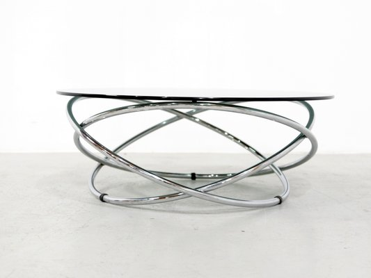 italian chrome smoked glass coffee table 1960s