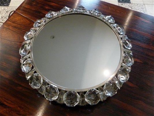 Miroir Lumineux Rond En Cristal De Palwa 1950s En Vente Sur Pamono