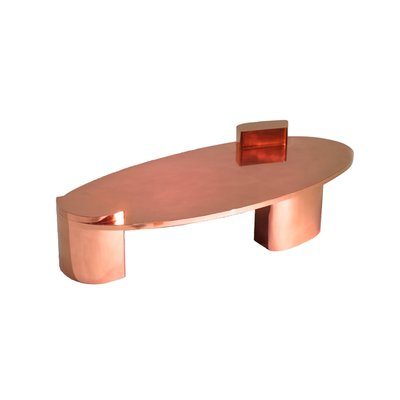 2069 polished copper low center table by privatiselectionem the exceptional