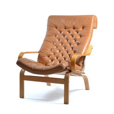 fauteuil bore en cuir et tissu par noboru nakamura pour ikea 1970s