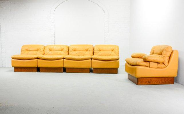 mid century deep yellow leather modular sofa set from dreipunkt 1970s