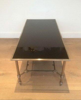 table basse de style neoclassique argentee avec plateau en verre laque noir 1940s