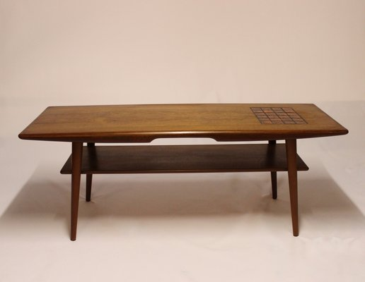 danish teak coffee table with dark colored tiles 1960s