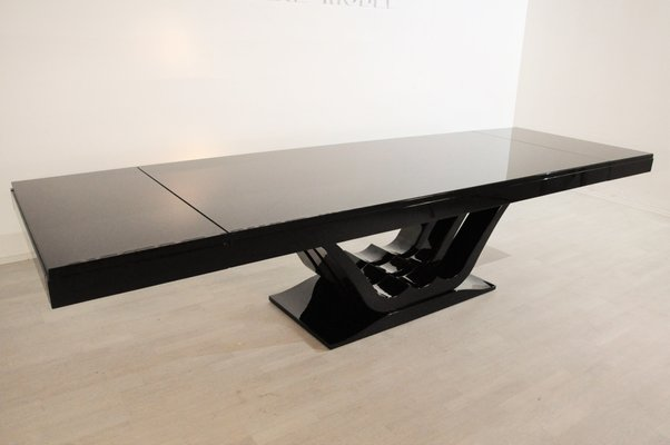 large art deco dining table in high gloss black 1920s