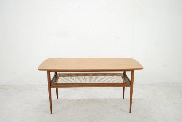 danish modern sculptural teak cane coffee table