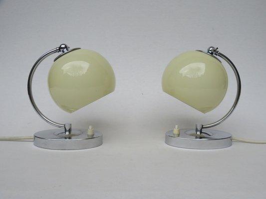 lampes de chevet art deco en chrome autriche set de 2