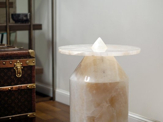 totem coffee table in white onyx by karen chekerdjian for mmairo the exceptional