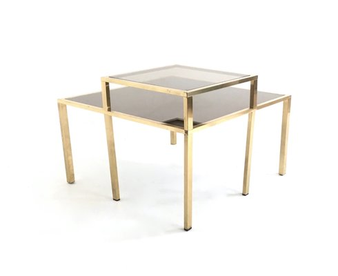 square brass coffee table 1980s