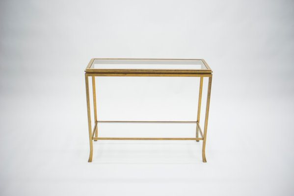 golden wrought iron console by robert thibier 1960s