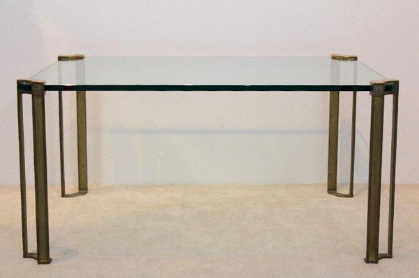 table basse vintage en laiton verre par peter ghyczy