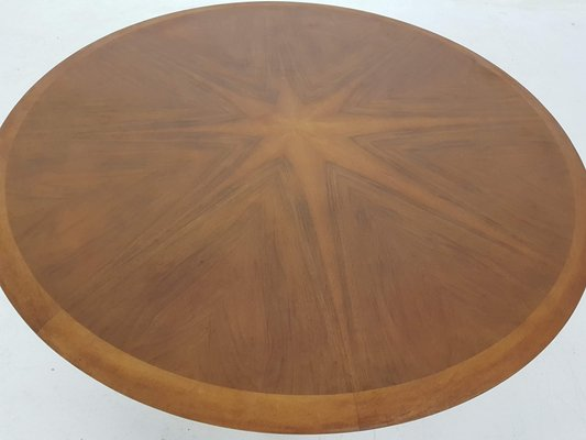 large round coffee table with wooden inlay by n o moller 1960s