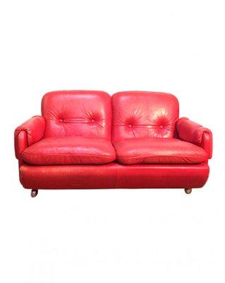 Divano Lombardia In Pelle Rossa Di Risto Halme Per Ikea Anni 70