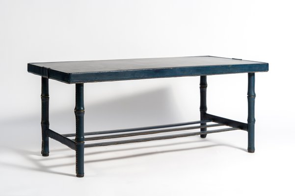 stitched leather cocktail table by jacques adnet 1950s