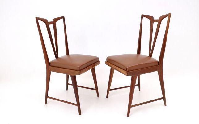 chaises de salle a manger en acajou massif et skai marron 1950s set de 6