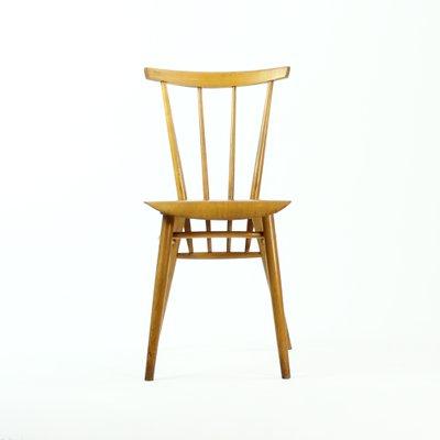 chaise de cuisine tchecoslovaque en bois clair de ton 1960s