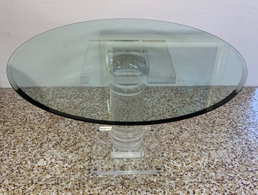 mid century italian plexiglas table with crystal glass top