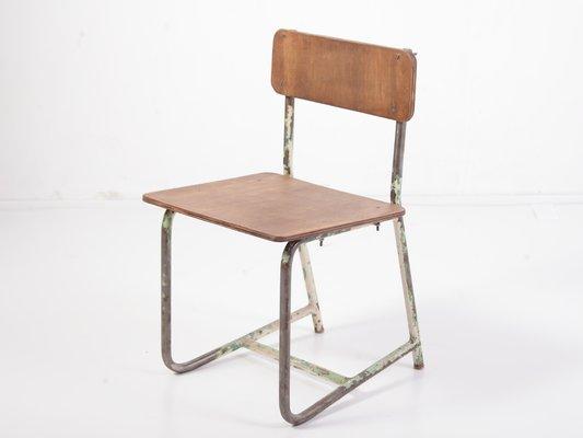 chaise d ecole vintage en contreplaque et en acier 1970s