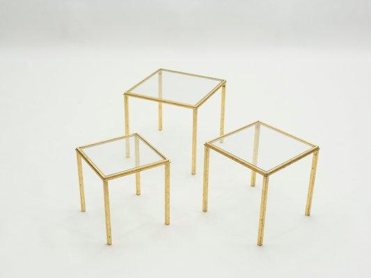 tables gigognes en fer forge et dore par robert roger thibier 1960s