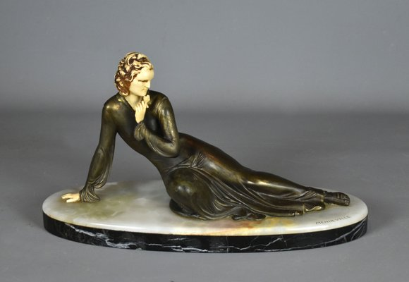 art deco french sculpture by menneville 1930s