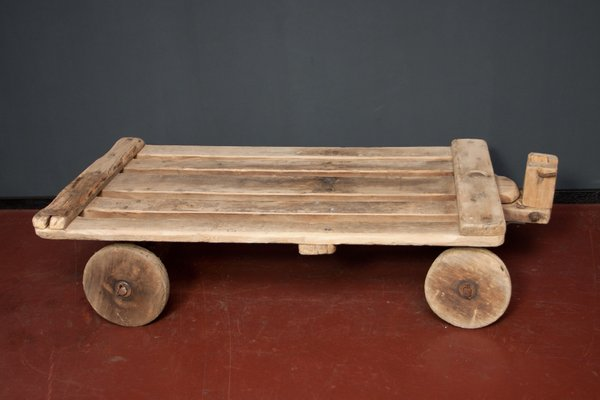 vintage rustic coffee table with wheels 1930s