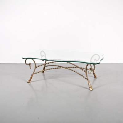 vintage french glass coffee table 1960s