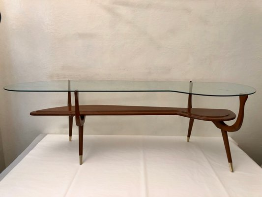 mid century italian brass and glass coffee table 1950s