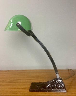 lampe de bureau art deco en fer forge et email vert de niam france 1920s
