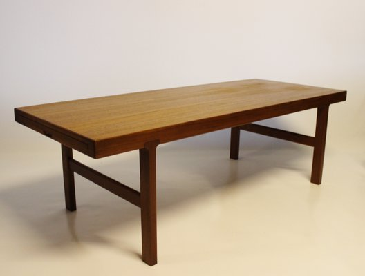 danish modern rosewood coffee table with black extension leaf 1960s