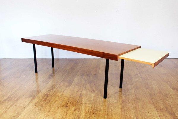 table basse scandinave en metal et teck avec rallonge 1970s