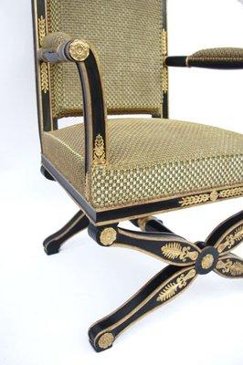 chaise de bureau ancienne style empire laquee noir annees 1900
