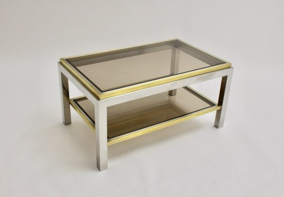 mid century brass and chrome coffee table by willy rizzo 1970s
