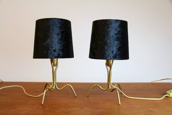 Small Brass Bedside Lamps 1950s Set Of 2 For Sale At Pamono