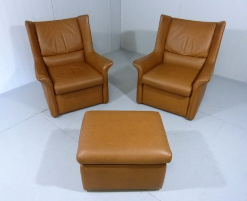 vintage leather lounge set with 2 chairs ottoman 1960s