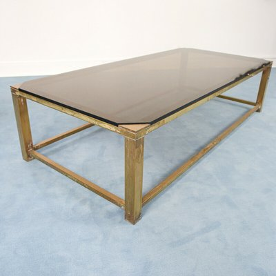 vintage brass smoked glass coffee table 1970s