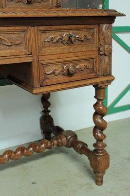 bureau style louis xiii vintage en chene