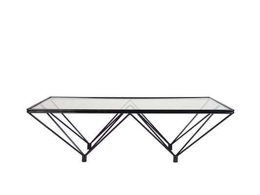 vintage black metal and tinted glass coffee table