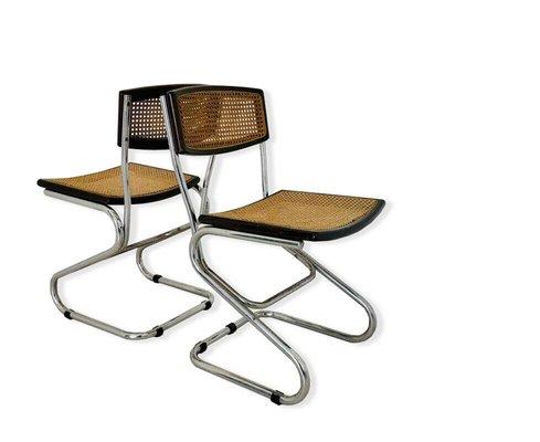 chaises de salle a manger vintage en bois et paille annees 70 set de 2
