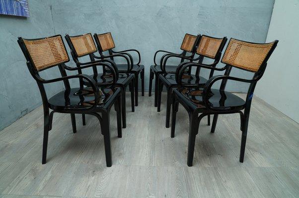 chaise de salle a manger art nouveau antique en bois noir et paille de vienne 1910s