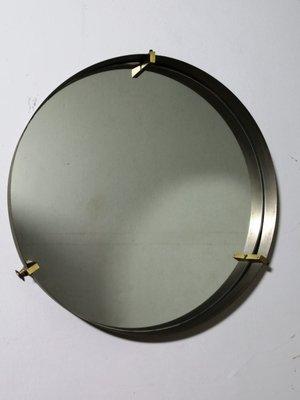 miroir rond vintage en laiton annees 50