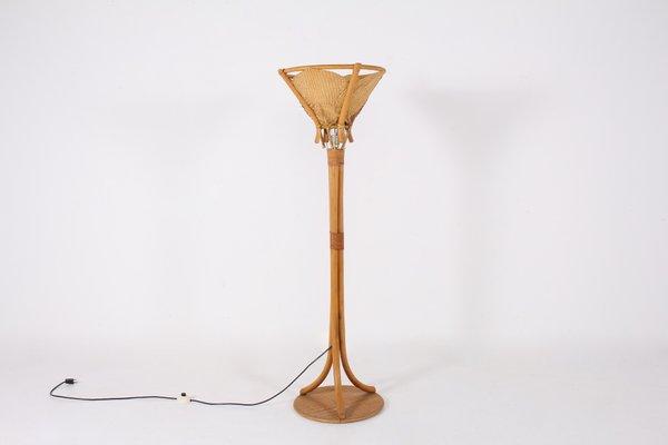 lampadaire vintage en bambou et rotin annees 70
