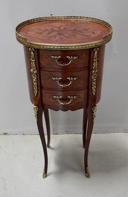 small mid century louis xv style rosewood veneer side table 1950s