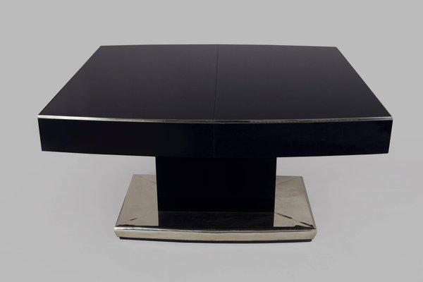 grande table de salle a manger a rallonge art deco en chrome et verre noir annees 30