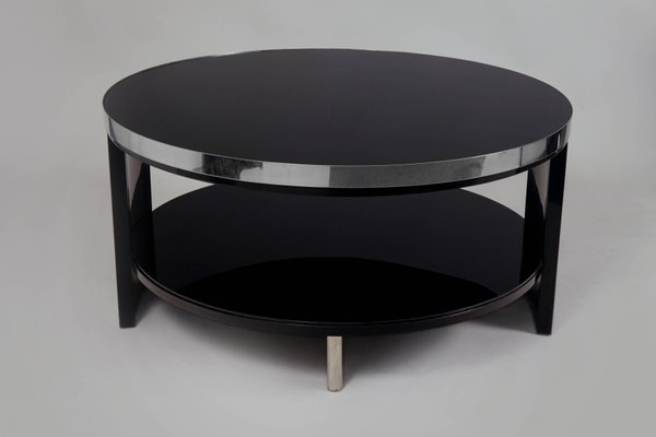 small art deco black glass and chrome coffee table 1930s